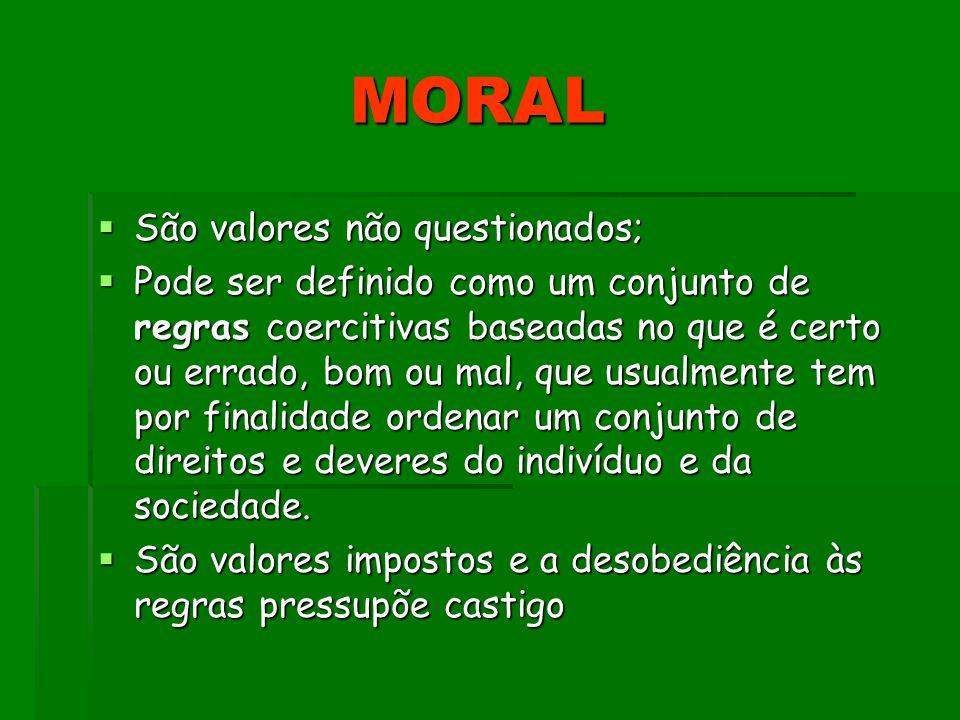 MORAL São valores não questionados;