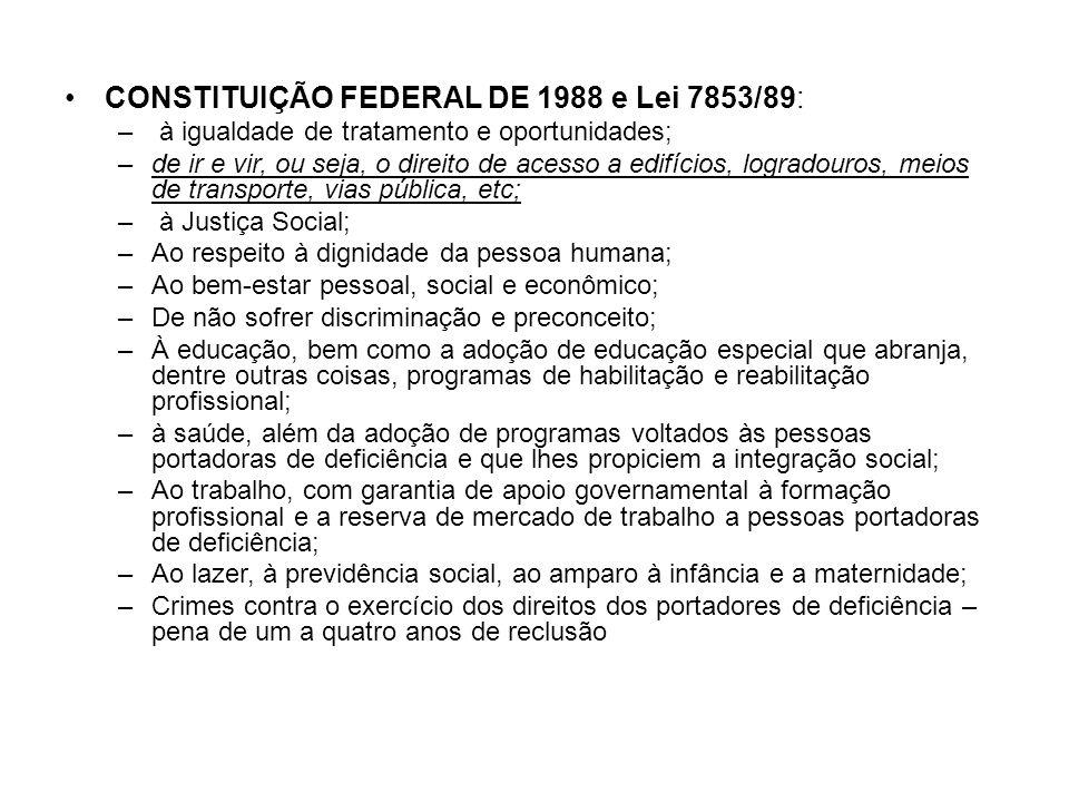 CONSTITUIÇÃO FEDERAL DE 1988 e Lei 7853/89: