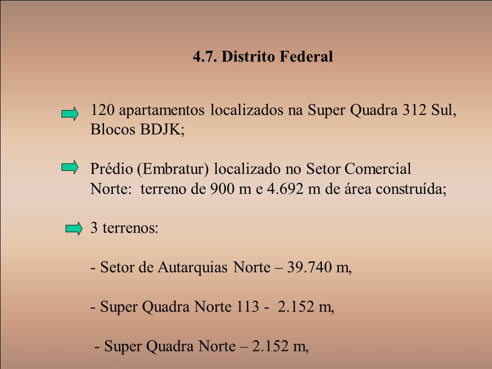 4.7. Distrito Federal 120 apartamentos localizados na Super Quadra 312 Sul, Blocos BDJK;