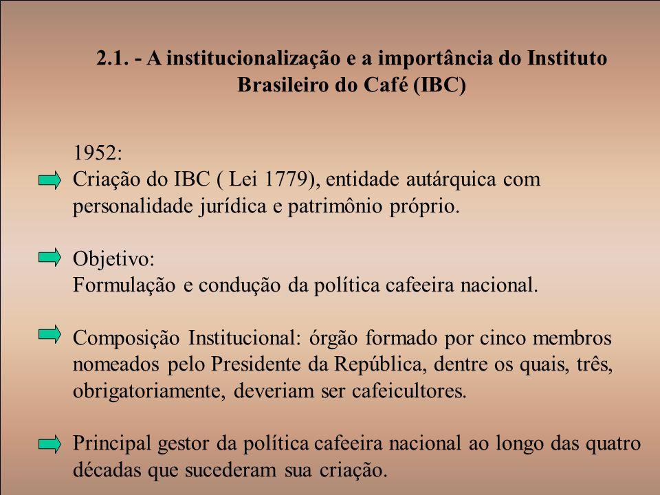 2.1. - A institucionalização e a importância do Instituto Brasileiro do Café (IBC)