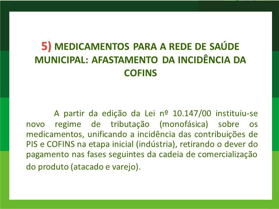 5) MEDICAMENTOS PARA A REDE DE SAÚDE MUNICIPAL: AFASTAMENTO DA INCIDÊNCIA DA COFINS