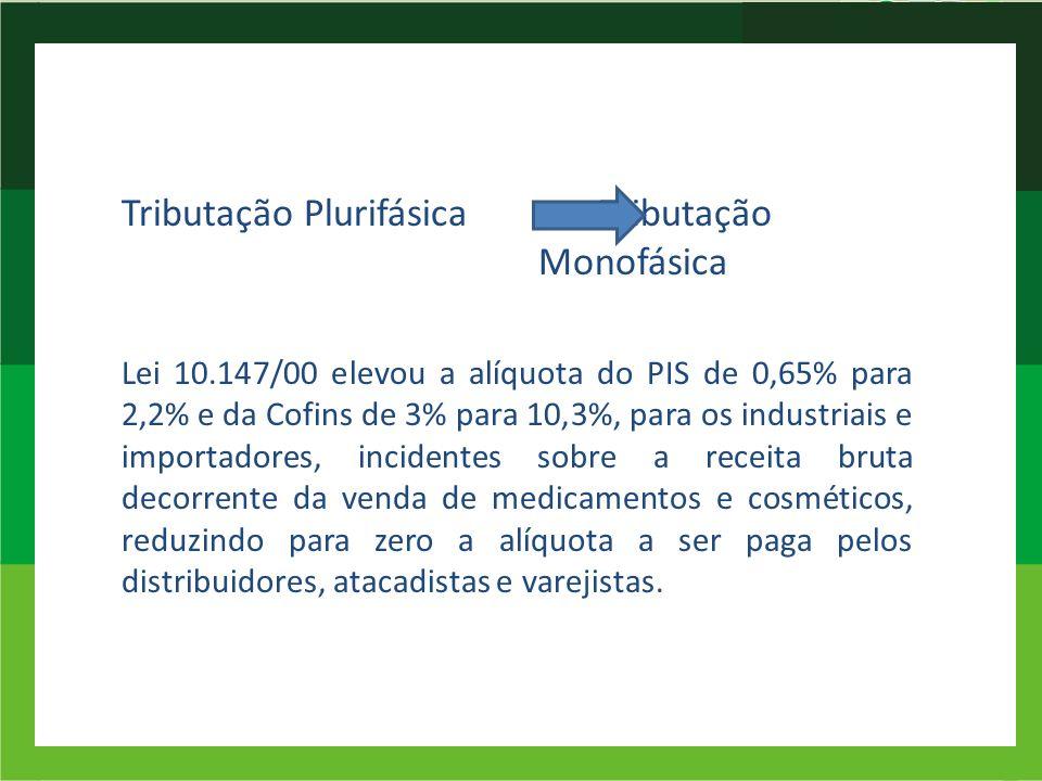 Tributação Plurifásica Tributação Monofásica