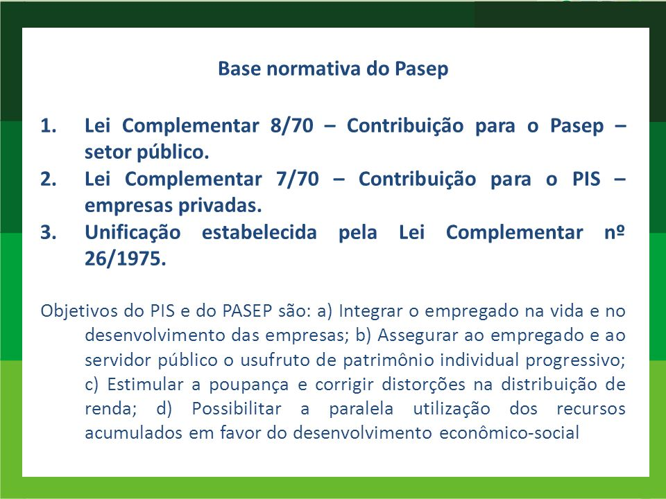 Base normativa do Pasep