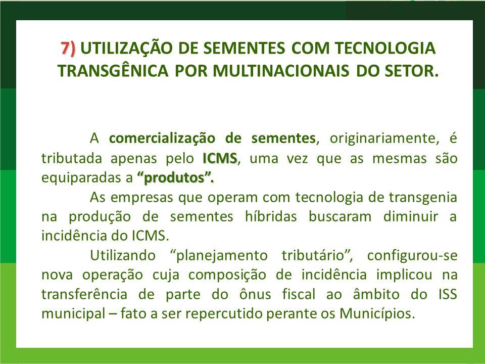 7) UTILIZAÇÃO DE SEMENTES COM TECNOLOGIA TRANSGÊNICA POR MULTINACIONAIS DO SETOR.
