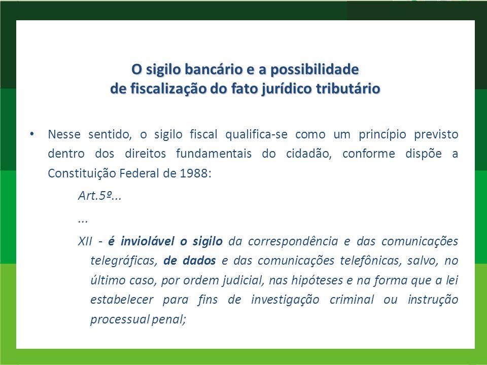 O sigilo bancário e a possibilidade de fiscalização do fato jurídico tributário