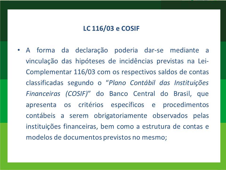 LC 116/03 e COSIF