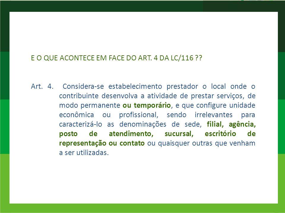 E O QUE ACONTECE EM FACE DO ART. 4 DA LC/116. Art. 4