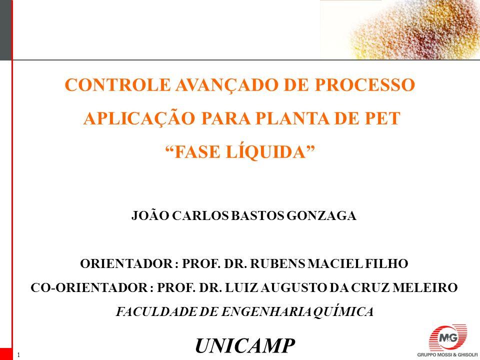 UNICAMP CONTROLE AVANÇADO DE PROCESSO APLICAÇÃO PARA PLANTA DE PET