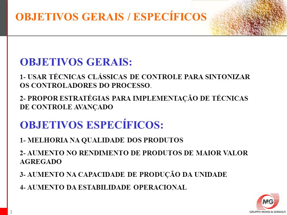 OBJETIVOS GERAIS / ESPECÍFICOS