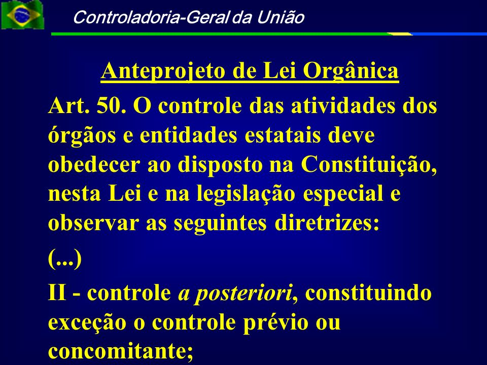 Anteprojeto de Lei Orgânica