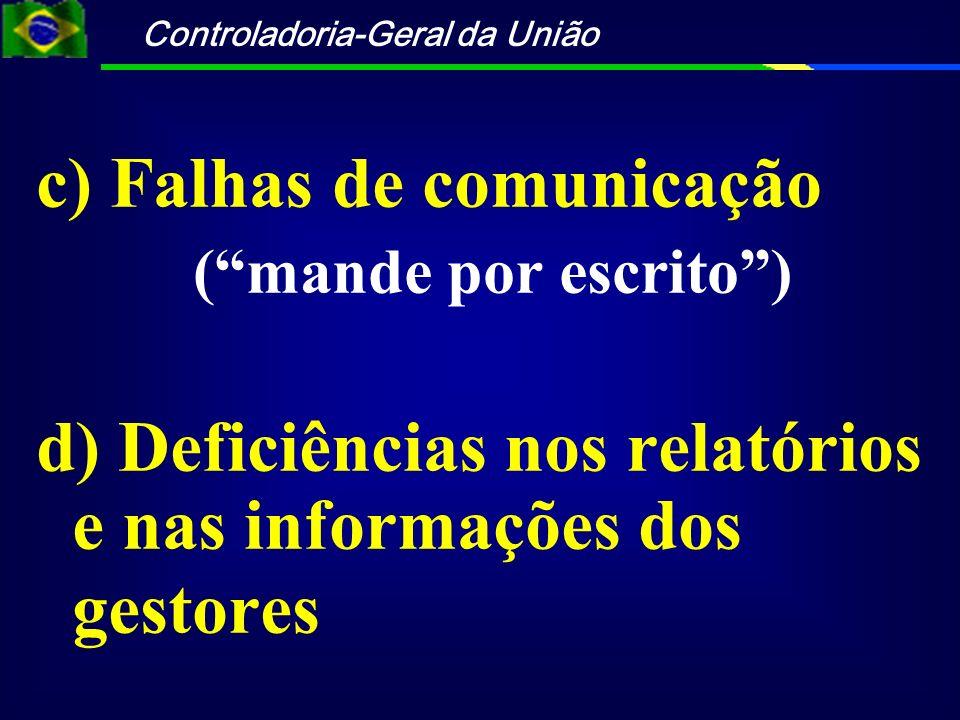 c) Falhas de comunicação
