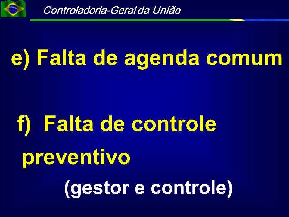 e) Falta de agenda comum f) Falta de controle preventivo