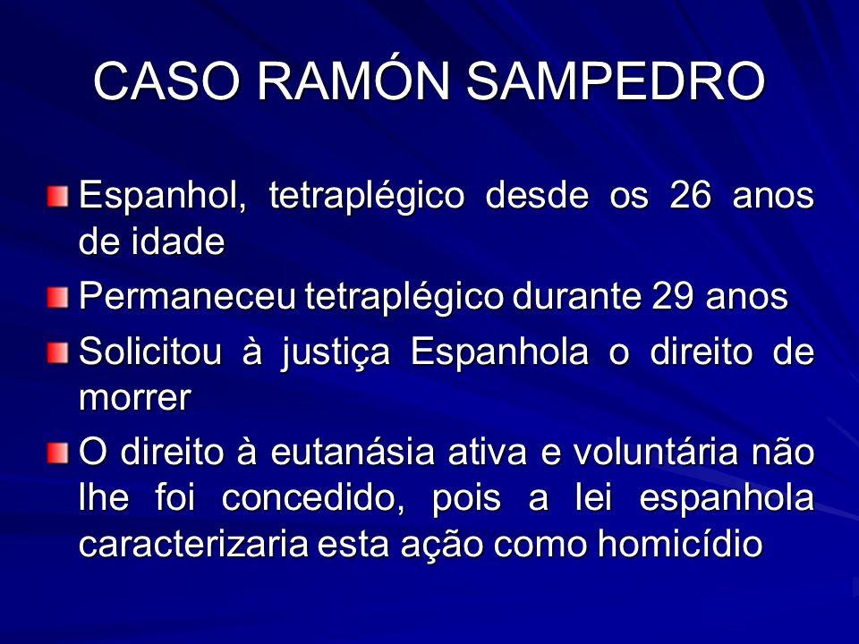 CASO RAMÓN SAMPEDRO Espanhol, tetraplégico desde os 26 anos de idade