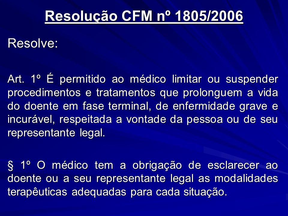 Resolução CFM nº 1805/2006 Resolve: