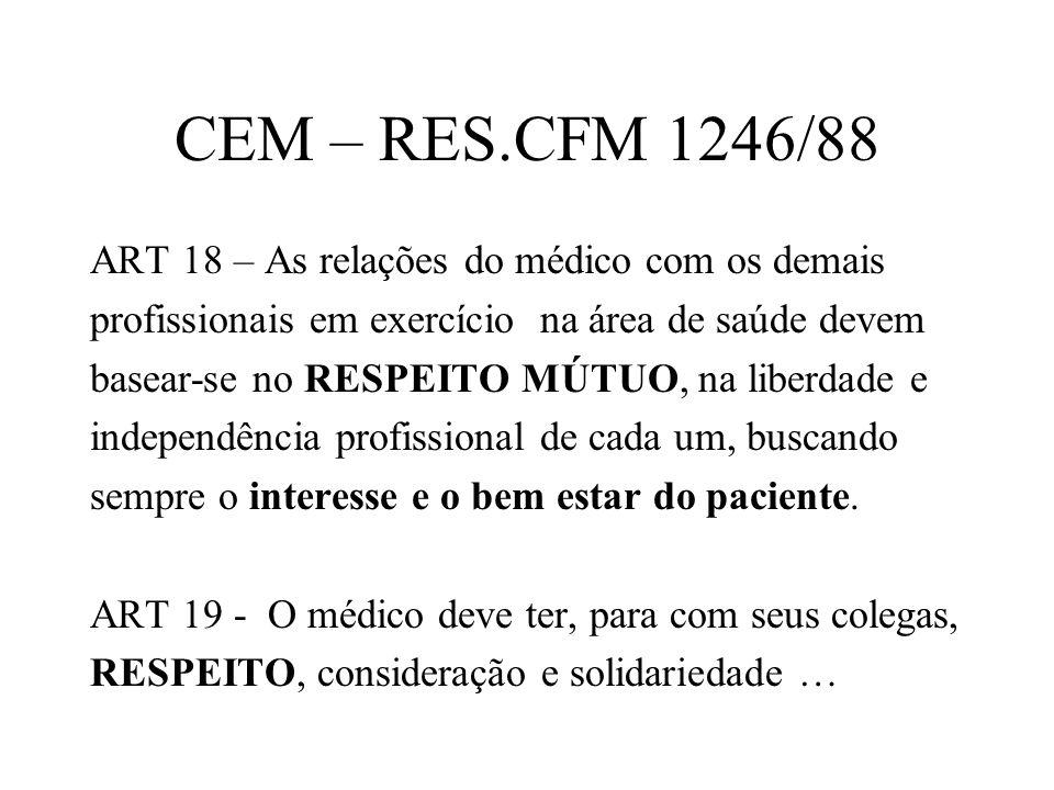 CEM – RES.CFM 1246/88 ART 18 – As relações do médico com os demais