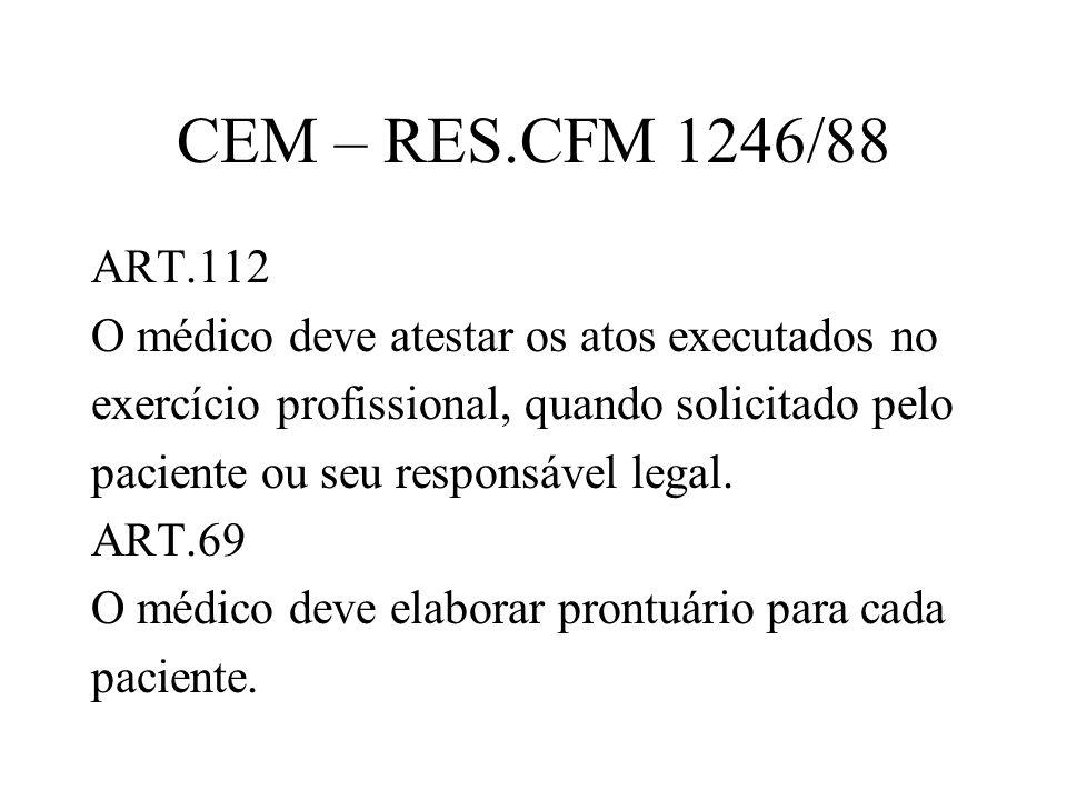 CEM – RES.CFM 1246/88ART.112. O médico deve atestar os atos executados no. exercício profissional, quando solicitado pelo.
