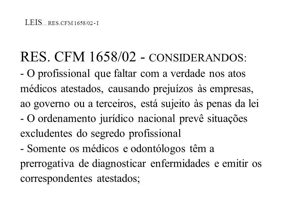 RES. CFM 1658/02 - CONSIDERANDOS: