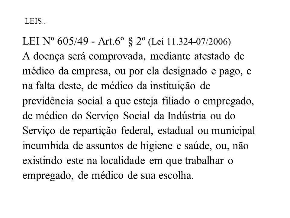 LEI Nº 605/49 - Art.6º § 2º (Lei 11.324-07/2006)