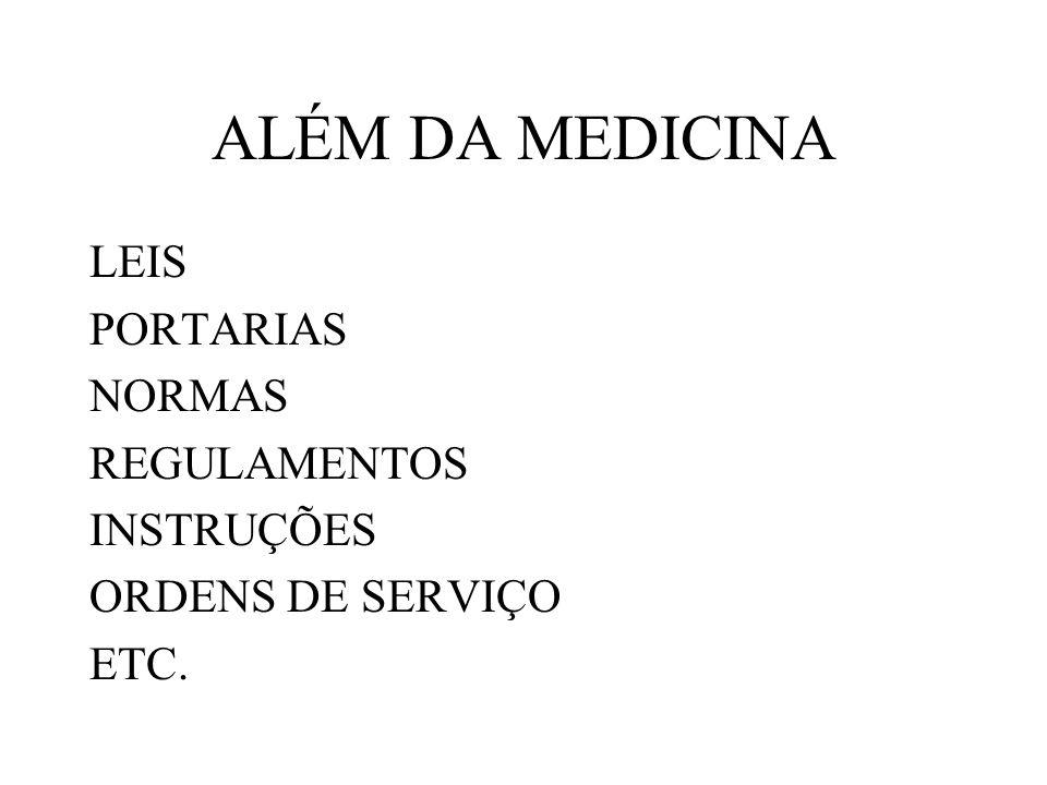 ALÉM DA MEDICINA LEIS PORTARIAS NORMAS REGULAMENTOS INSTRUÇÕES