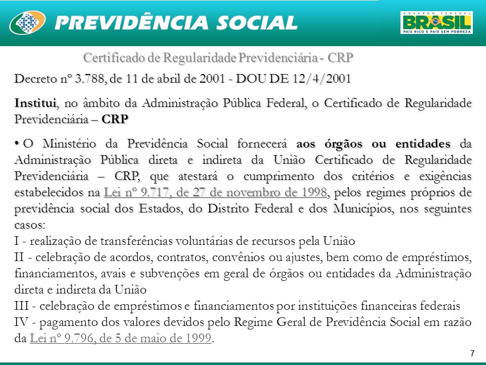 Certificado de Regularidade Previdenciária - CRP