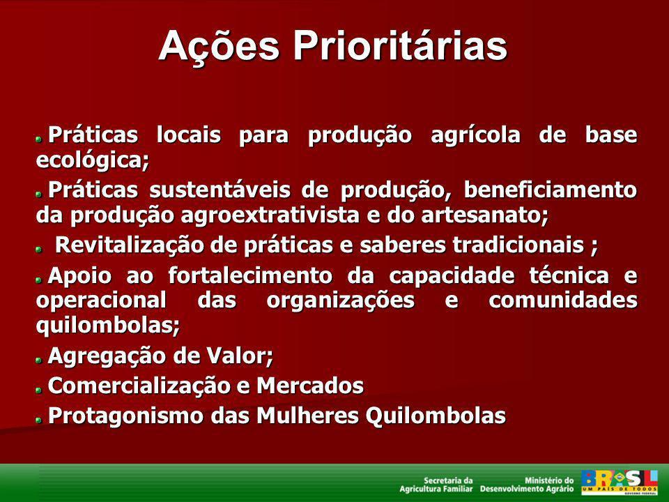 Ações Prioritárias Práticas locais para produção agrícola de base ecológica;