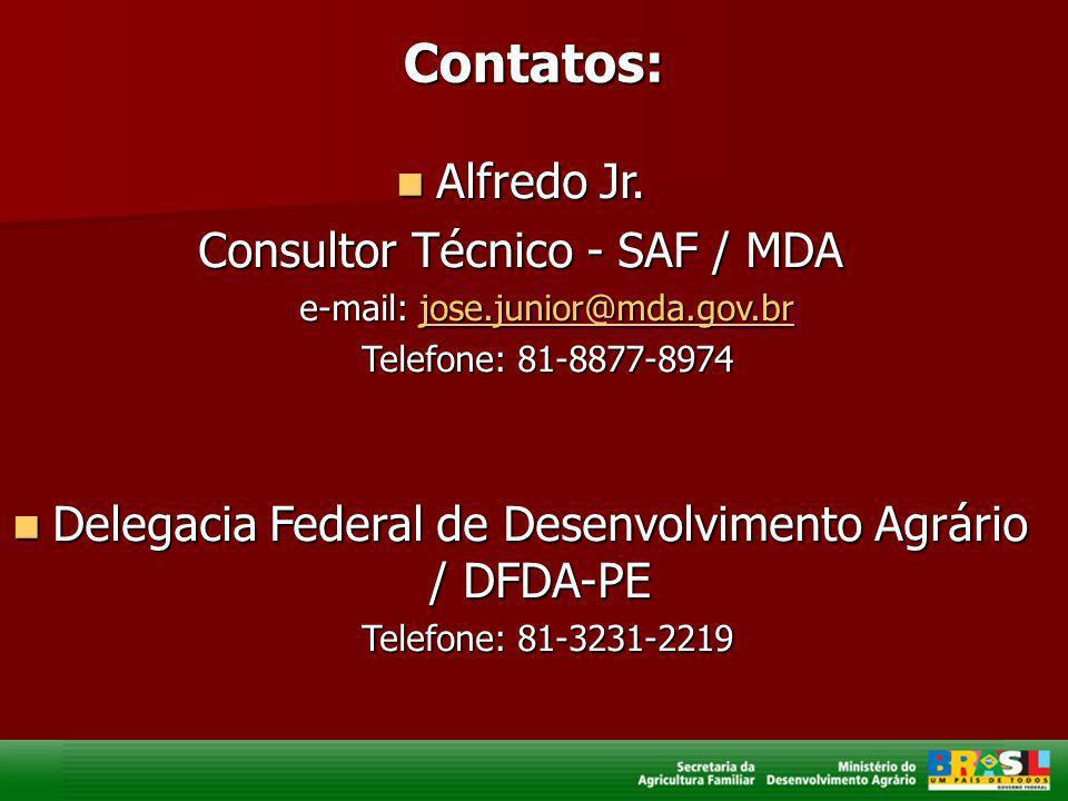 Contatos: Alfredo Jr. Consultor Técnico - SAF / MDA