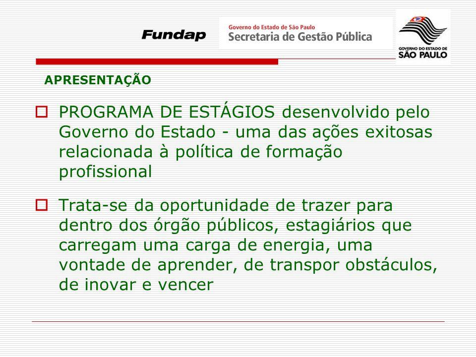 APRESENTAÇÃO PROGRAMA DE ESTÁGIOS desenvolvido pelo Governo do Estado - uma das ações exitosas relacionada à política de formação profissional.