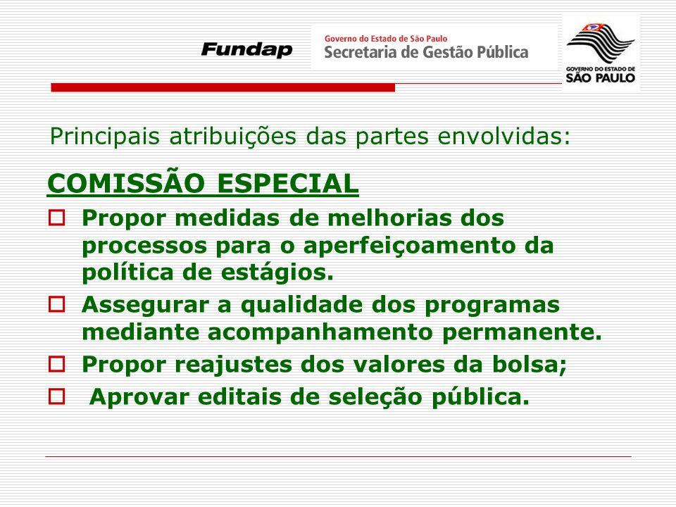 COMISSÃO ESPECIAL Principais atribuições das partes envolvidas: