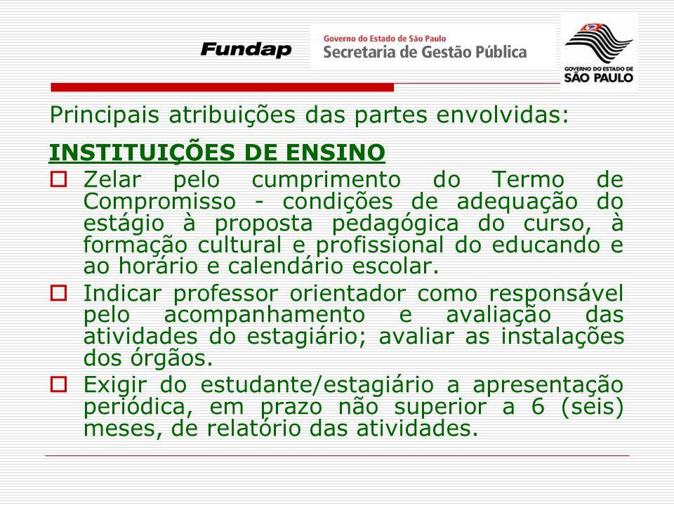 Principais atribuições das partes envolvidas: