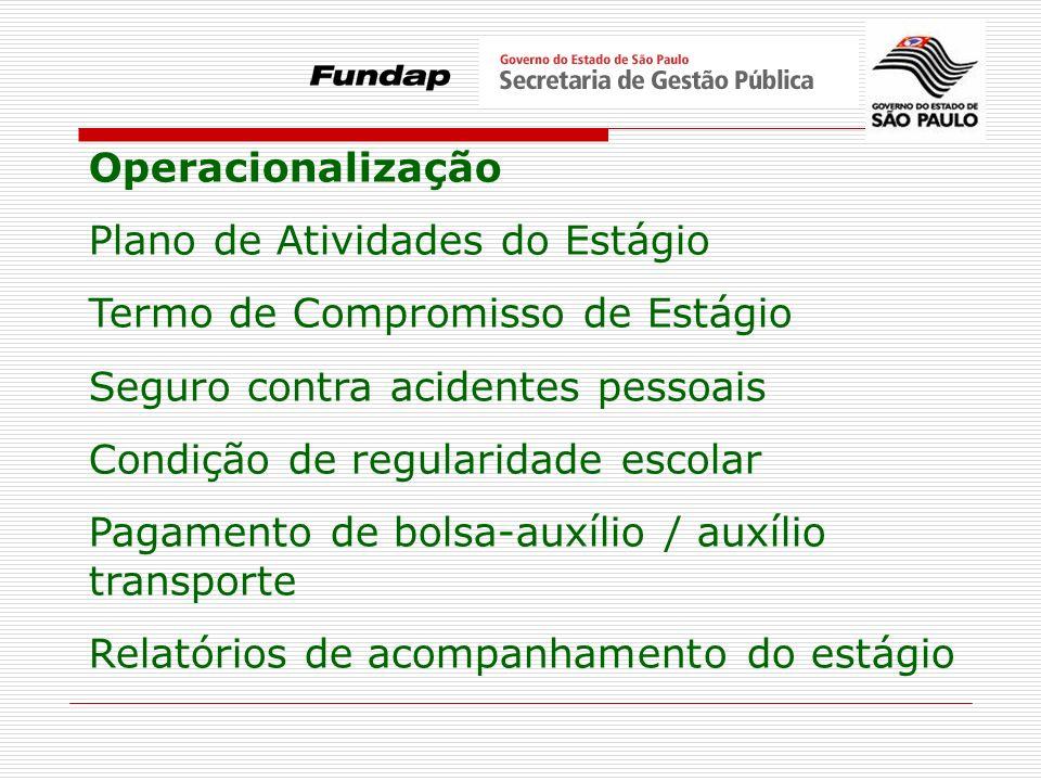 Operacionalização Plano de Atividades do Estágio. Termo de Compromisso de Estágio. Seguro contra acidentes pessoais.