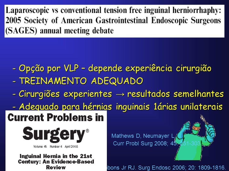 Opção por VLP – depende experiência cirurgião TREINAMENTO ADEQUADO
