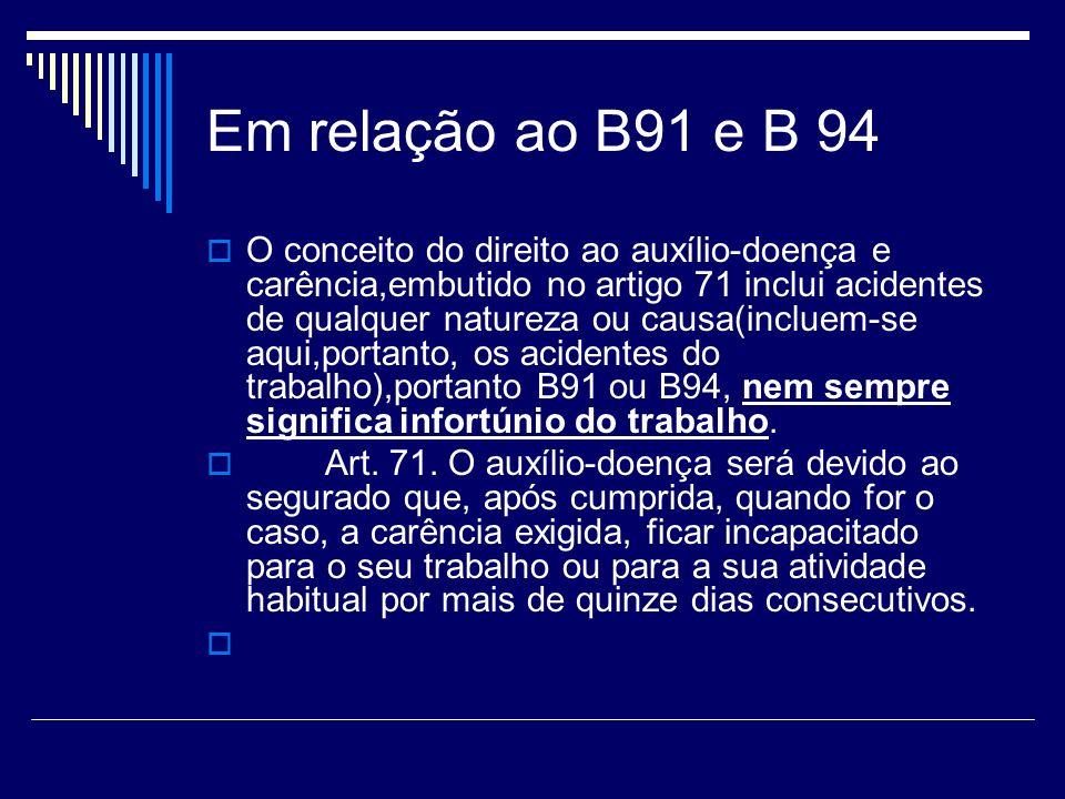 Em relação ao B91 e B 94