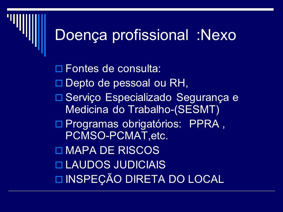 Doença profissional :Nexo