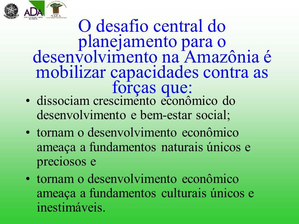 O desafio central do planejamento para o desenvolvimento na Amazônia é mobilizar capacidades contra as forças que: