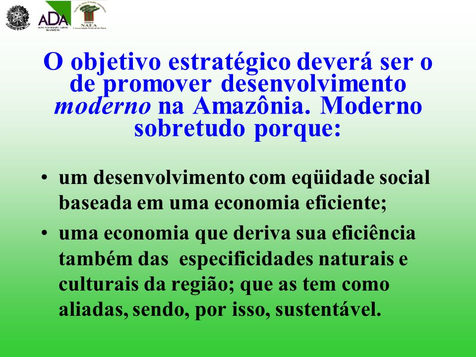 O objetivo estratégico deverá ser o de promover desenvolvimento moderno na Amazônia. Moderno sobretudo porque: