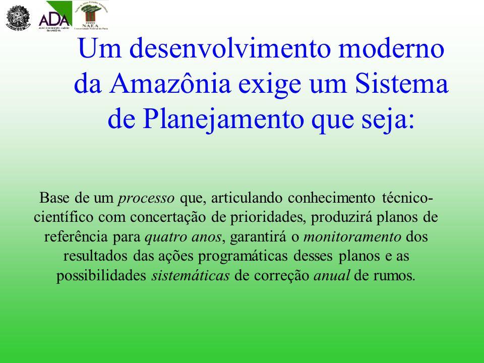Um desenvolvimento moderno da Amazônia exige um Sistema de Planejamento que seja: