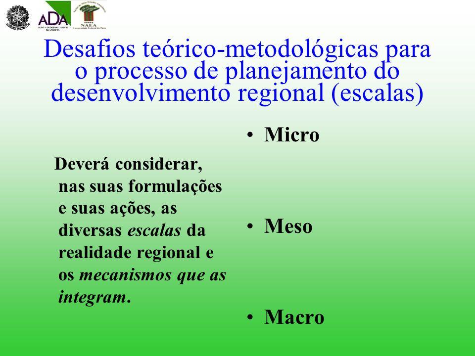 Desafios teórico-metodológicas para o processo de planejamento do desenvolvimento regional (escalas)