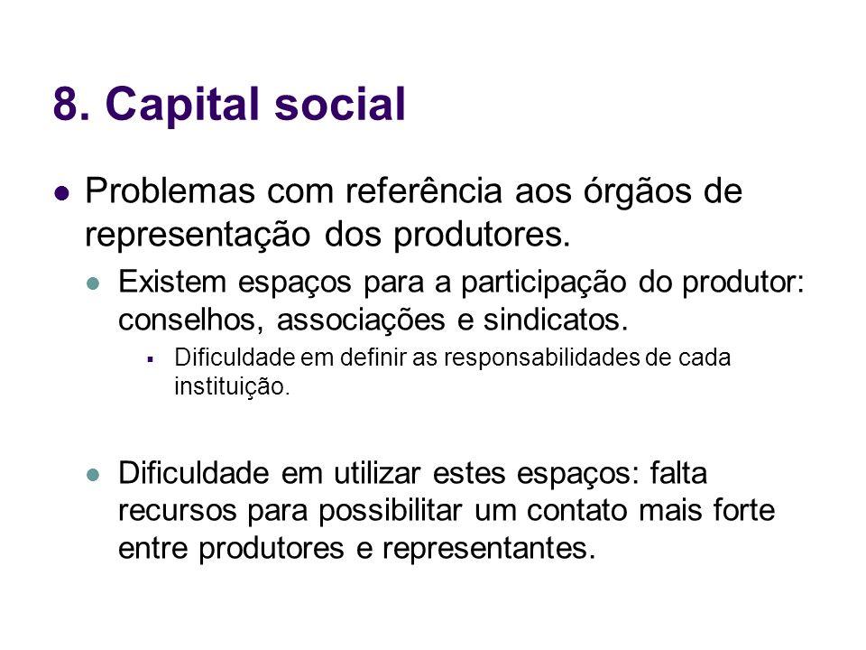 8. Capital social Problemas com referência aos órgãos de representação dos produtores.