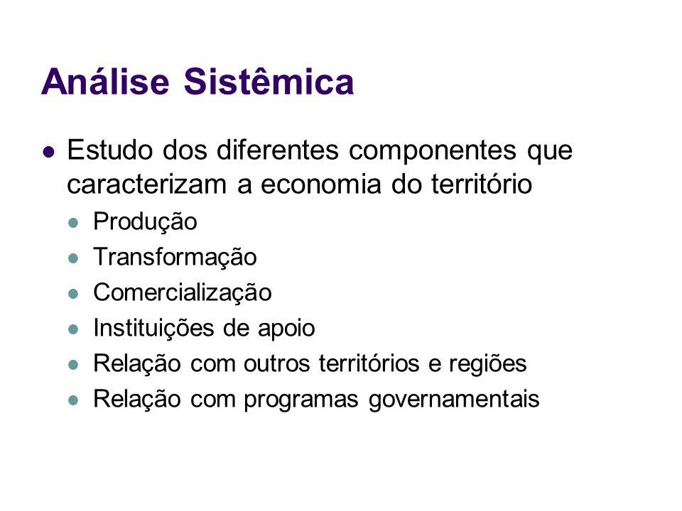 Análise Sistêmica Estudo dos diferentes componentes que caracterizam a economia do território. Produção.