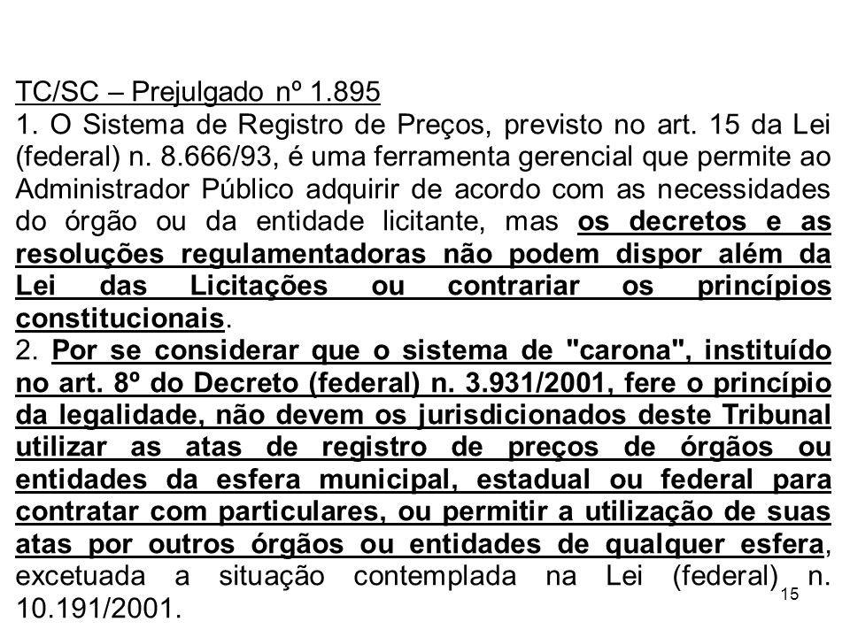TC/SC – Prejulgado nº 1.895