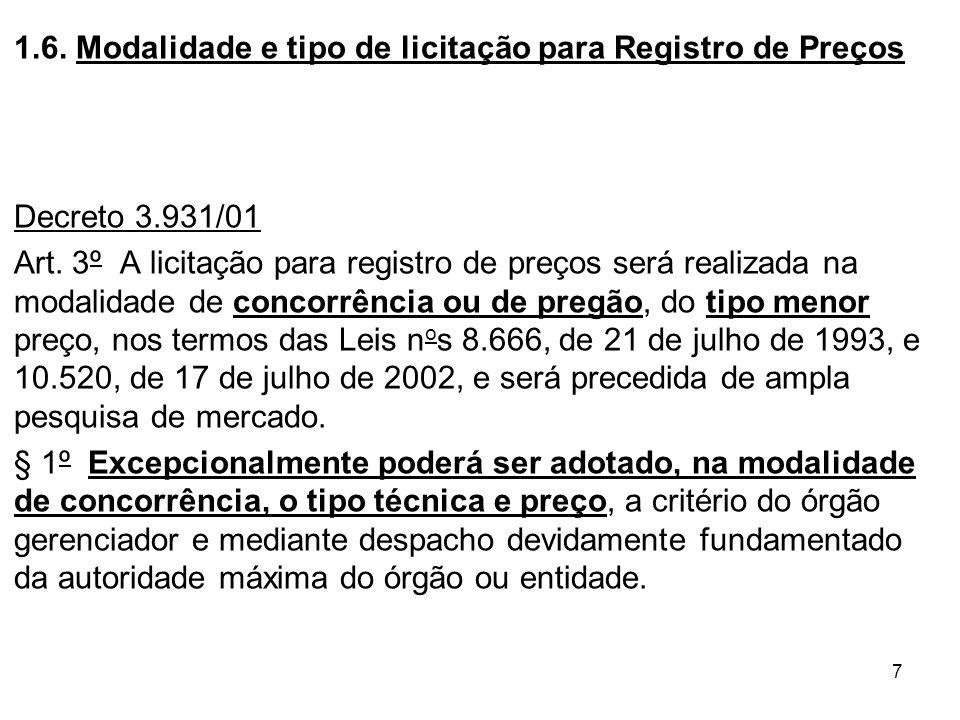 1.6. Modalidade e tipo de licitação para Registro de Preços
