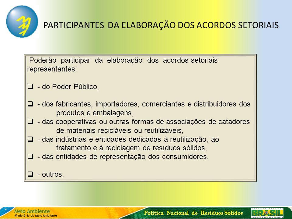 PARTICIPANTES DA ELABORAÇÃO DOS ACORDOS SETORIAIS