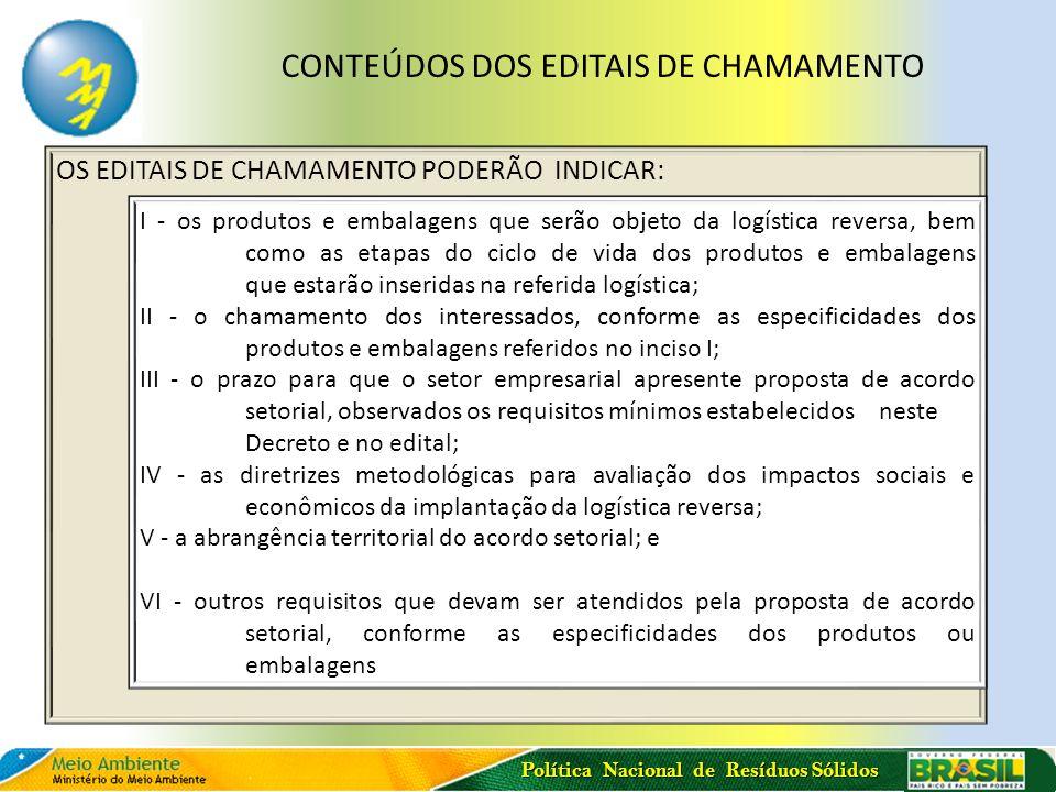 CONTEÚDOS DOS EDITAIS DE CHAMAMENTO