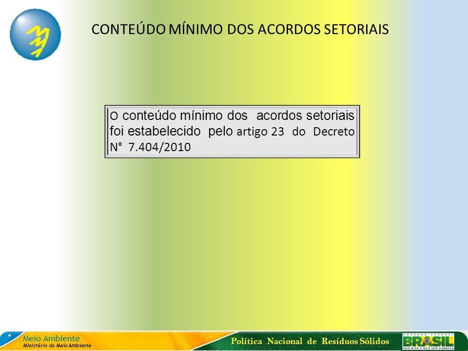 CONTEÚDO MÍNIMO DOS ACORDOS SETORIAIS
