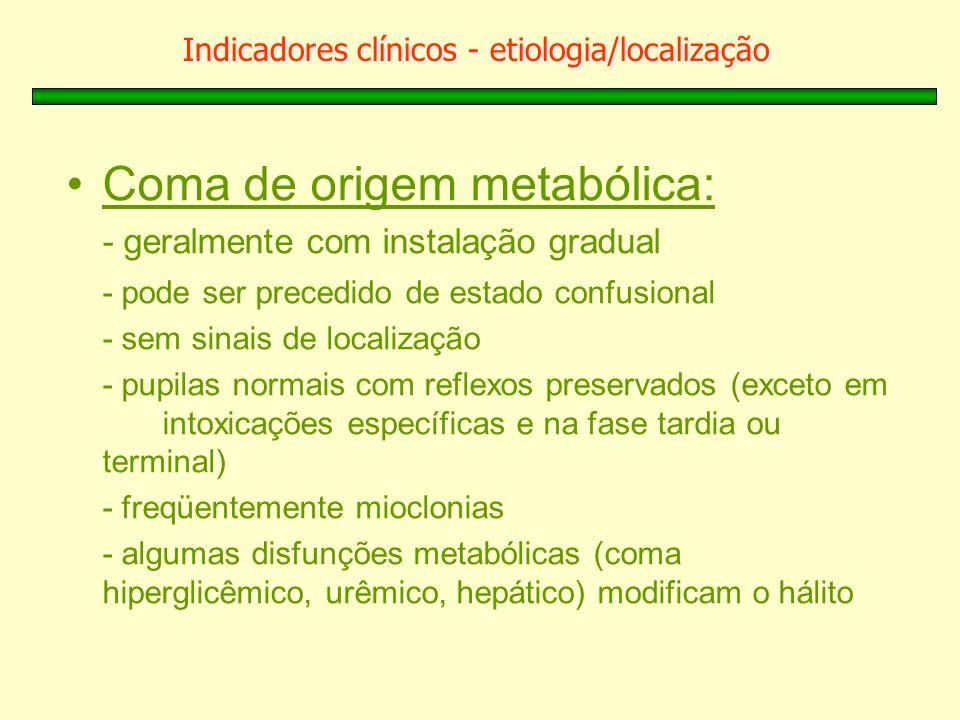 Indicadores clínicos - etiologia/localização