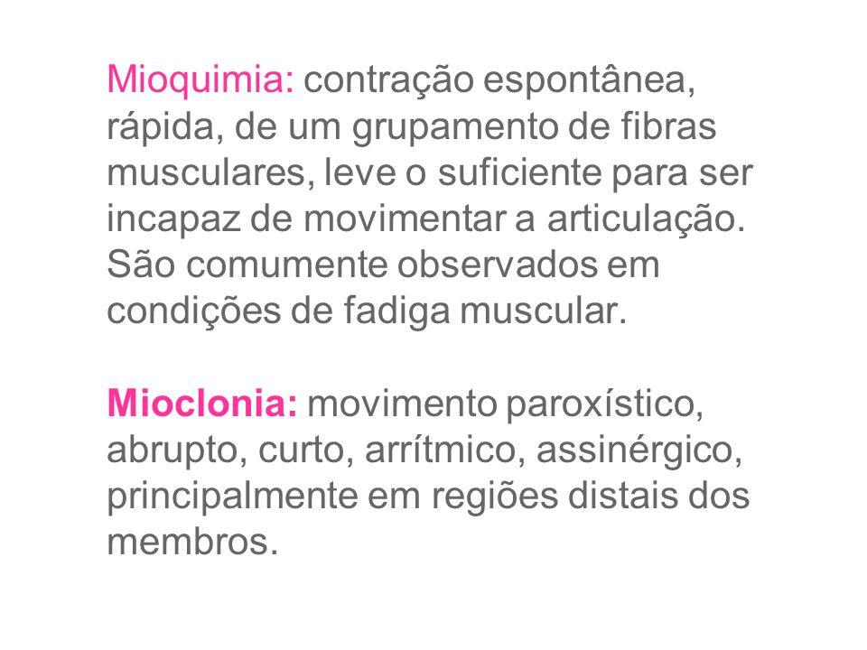 Mioquimia: contração espontânea, rápida, de um grupamento de fibras musculares, leve o suficiente para ser incapaz de movimentar a articulação.