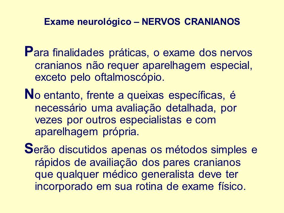 Exame neurológico – NERVOS CRANIANOS