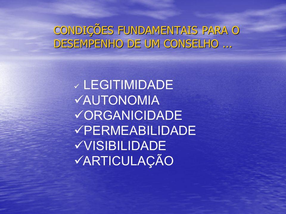 CONDIÇÕES FUNDAMENTAIS PARA O DESEMPENHO DE UM CONSELHO ...