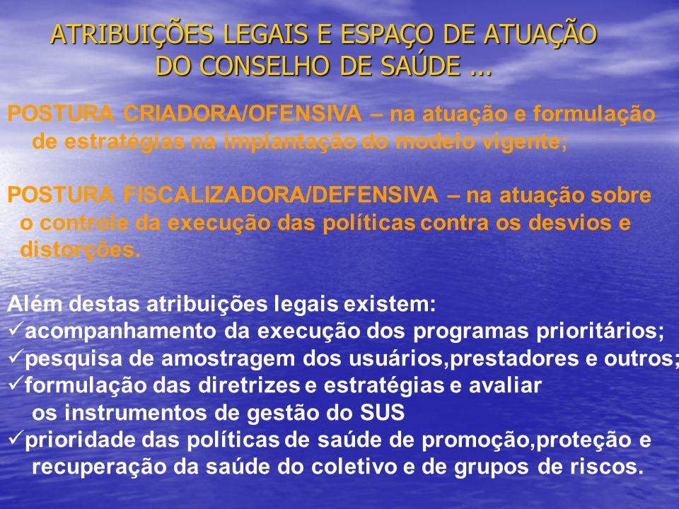 ATRIBUIÇÕES LEGAIS E ESPAÇO DE ATUAÇÃO DO CONSELHO DE SAÚDE ...