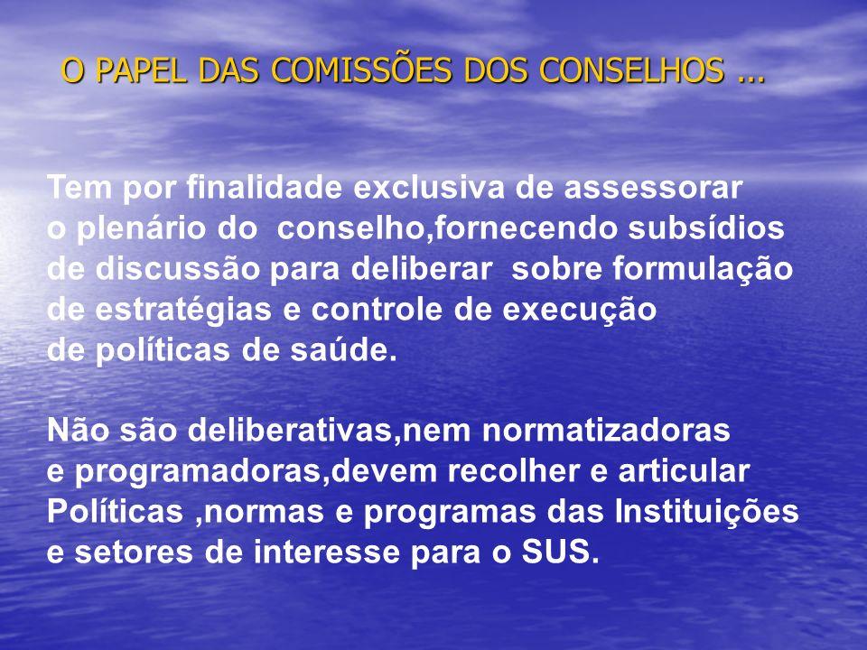 O PAPEL DAS COMISSÕES DOS CONSELHOS ...